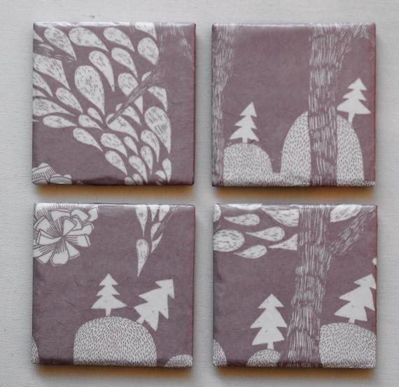 A set of 4 ceramic coasters - Winter Wonderland - Dusty Lavender