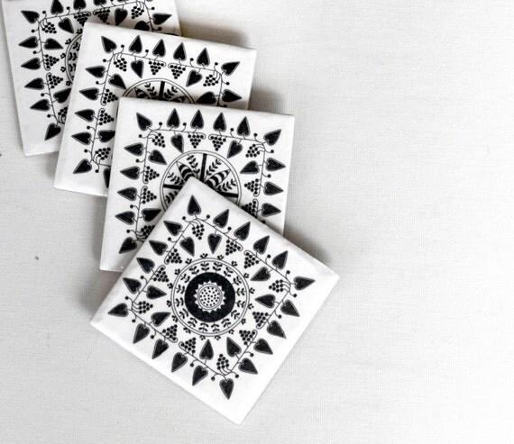 Ceramic Coasters, Black and White Scandinavian Pattern, Set of 4