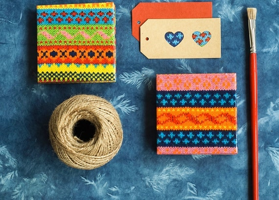 Ceramic coasters Colorful  Knitted Yarn Winter Coasters, set of 4