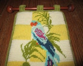 Vintage Bird Parrot Hand Made Needlepoint Tapestry
