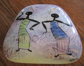 Balinese Dancers Marc Bellaire Pottery Jewelry Cigarette Trinket Dish Mid Century Storage Container