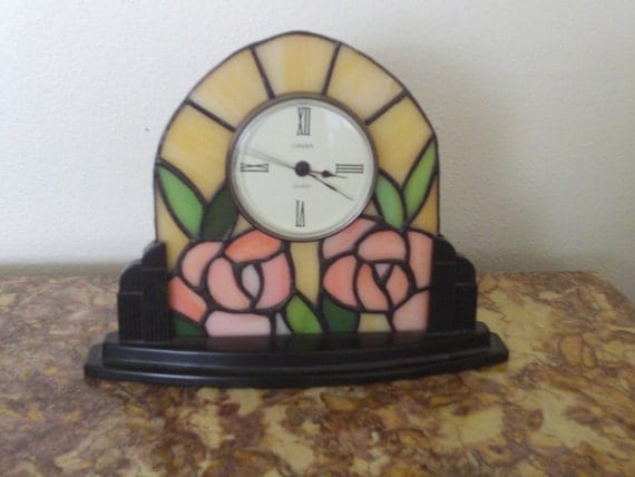 Vintage Art Deco Stained Glass Linden Mantle Clock