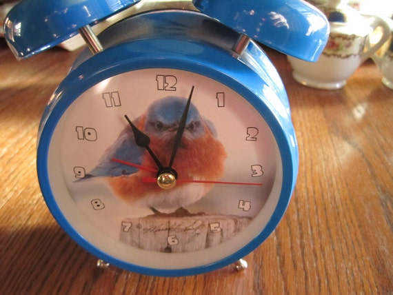 Bright Blue Bird Alarm Clock Battery Operated