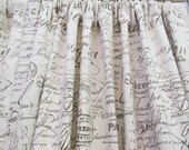 PAIR French Script Cotton Duck Drapery Panels-UNLINED
