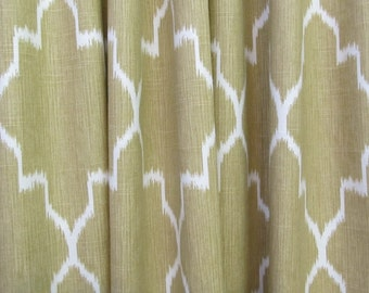 PAIR Straw and white Drapery Panels LINED
