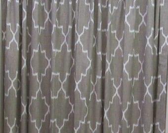 PAIR IKAT monaco linen (gray) and white Drapery Panels LINED