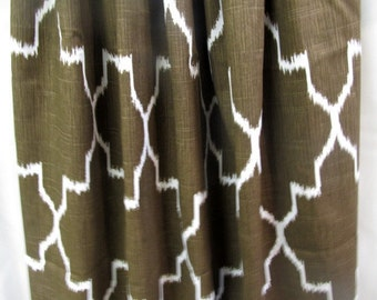 PAIR Ikat Coffee and white Drapery Panels LINED