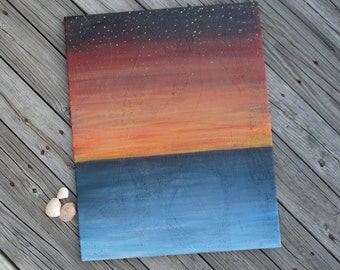 Red Sky At Night large ocean sunset sunrise painting