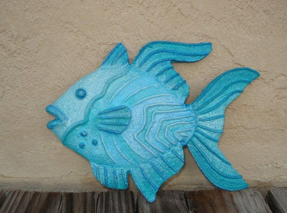 One Fish Blue Fish whimsical painted wall decor