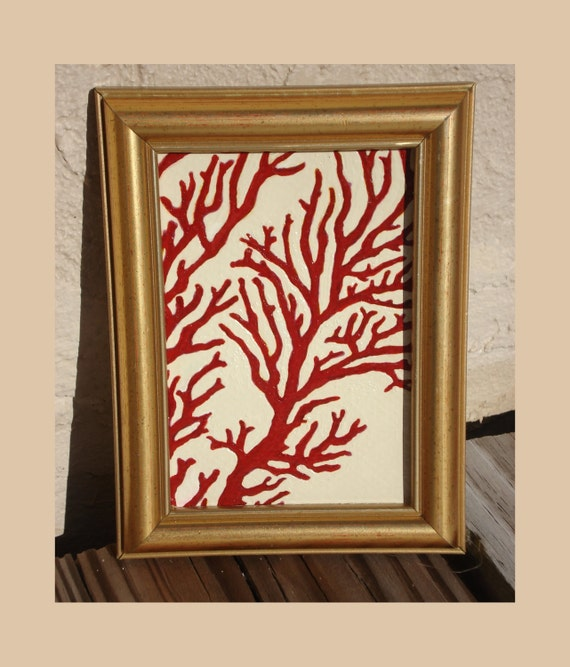 SEA ZEN - Framed Red Coral Acrylic Painting