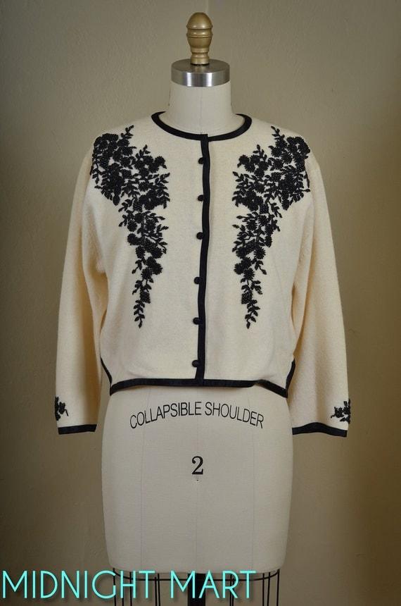 1950s beaded cardigan/ lambswool sweater