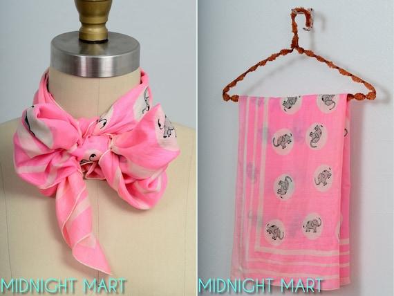 1950s scarf/ pink elephants 50s/ silk