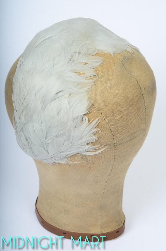 1950s hat/ 50s feathered fascinator hat/ bridal