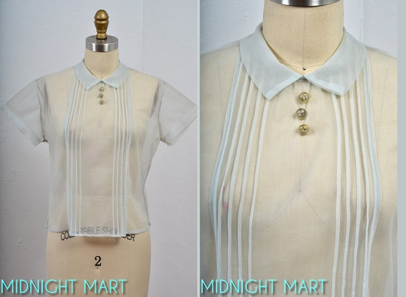 1950s blouse/ 50s sheer top/ pleated