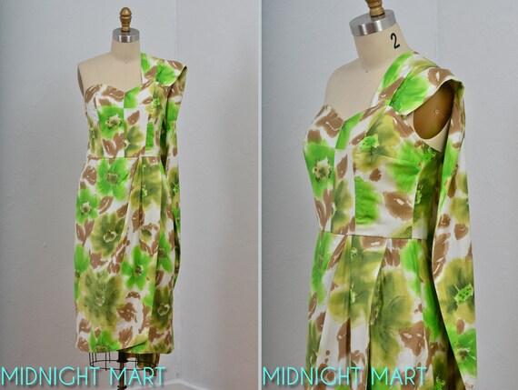 Reserved/1950s dress/50s Hawaiian sarong dress/ shoulder wrap