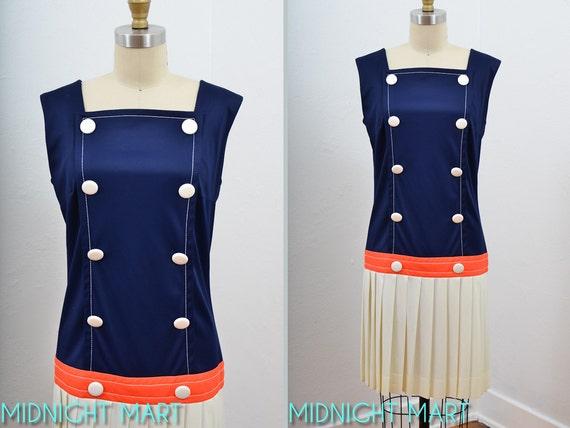 1960s dress/ 60s mod tennis dress/ Saucony