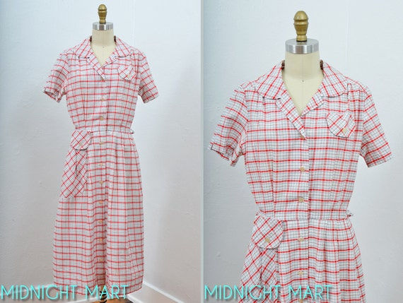 1940s dress/ 40s plaid dress/ crisp cotton