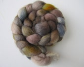 Vintage - A soft, muted bfl roving in browns, blues, yellows and greys to spin and knit