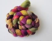 Spring has Sprung - a beautiful unique merino roving in shades of plum, beige, pink, green and yellow