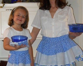Mommy and Me Aprons in Blue