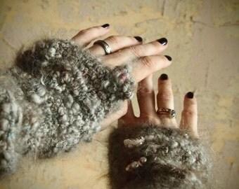 Fancy bunny paws, custom handspun and crocheted mitts