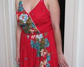 Vintage Early 80s Red Floral Tropical Hawaiian Sundress by Dash About--100% Cotton Size Large