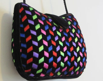 Vintage 80s Black and Neon Velvet Hard Shell Formal Cocktail Party Evening Prom Purse Clutch by La Regale / Chevron Stripes