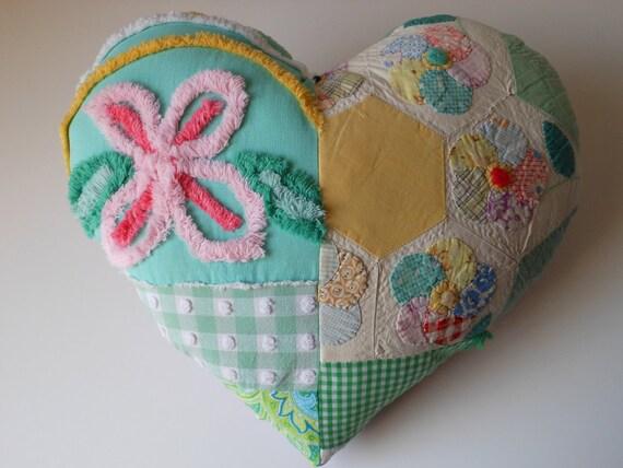 MAMA'S  PINK FLOWER  multi fabric sweet Heart pillow
