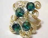 Emerald Green Swarovski Crystal/Silver Wire Wrap Adjustable Ring