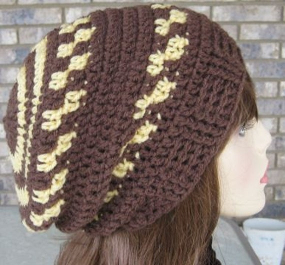 Brown and Cornmeal Mini .Slouch Hat....Women..Teens...Ready to Wear and Ready to Ship