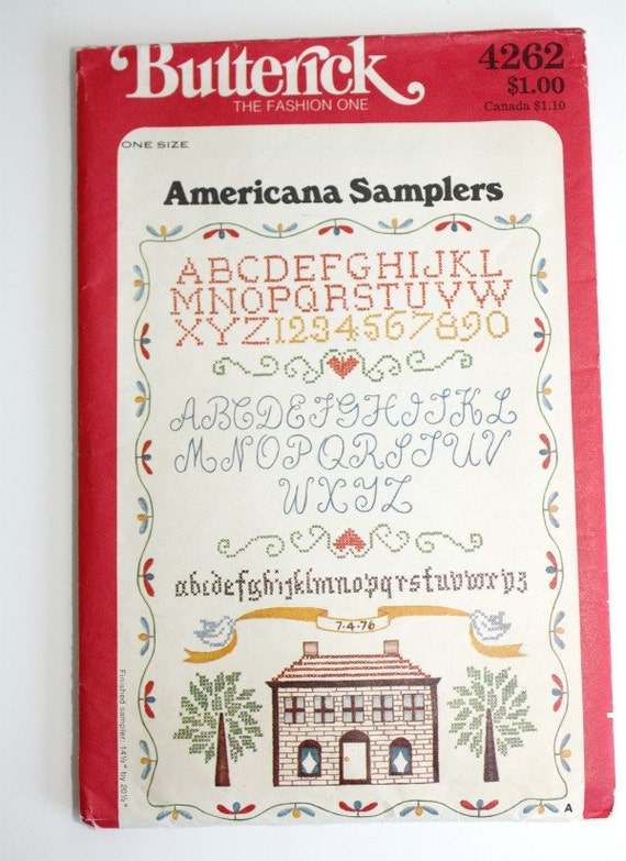 NEW Vintage BUTTERICK AMERICANA Samplers Embroidery Transfers - 70's - Alphabets, Numbers