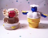 Vintage McDonalds Happy Meal Toys, Changeables, Egg McMuffin, Ice Cream Cone, 2 in Lot,  Robots,  Food Toys