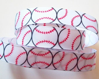 "Ribbon Baseball Grosgrain, Sports, School, Crafts,  ""3 YARDS""  7/8 inches wide ~ Baseball Grosgrain Ribbon"