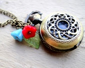 Pocket Watch Necklace - Red and Blue Bell Flowers and Green Leaf Accent on Brass Pocket Watch Pendent - Steampunk. Steam Punk.