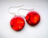 Orange, Red Earrings - Red Disk Splattered With Orange, Christmas Earrings