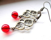 Brass, Red Earrings - Red Glass and Antiqued Brass Earrings. Earrings Red. Cranberry - Valentine