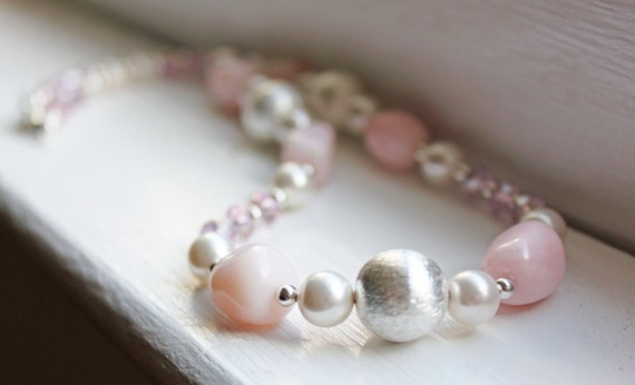 Pink Peruvian Opal Necklace with Swarovski Pearls
