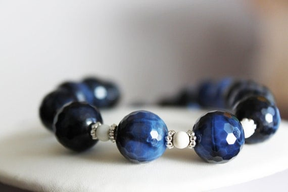 Dark Blue Faceted Fire Agate and White Fossil Stone Necklace
