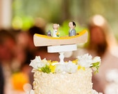 Custom Canoe Cake Topper - Custom Topper - Outdoor Wedding with one Pet