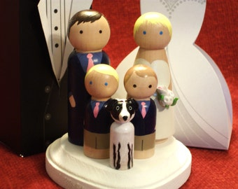 Family of 5 Wedding Cake Toppers - Fully Customizable---3-D Accents