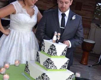 Custom Wedding cake Topper Tea length  Dress Bride Plus 1 Child or Special Pet - Wooden Cake Topper