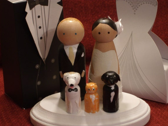 Custom Cake Toppers with Three Pets Fully Customizable---3-D Accents
