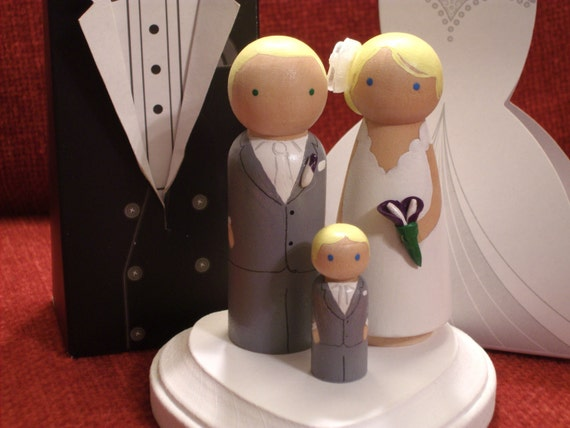 Personalized Wood Doll Cake Topper - Custom Wedding Cake Topper with Pet - Custom Wedding Cake Topper with Child