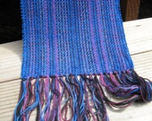 HANDWOVEN SCARF in bright blue rayon chenille