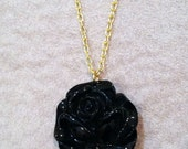 Rose Resin Necklace (Silver or Gold)