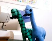two custom hipster dinosaurs. set of handmade stuffed animals.