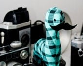 custom mini mustache dinosaur. handmade stuffed animal.