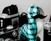 custom mini mustache dinosaur. handmade stuffed animal.