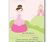 Princess Castle Birthday Party Invitation - Custom Digital - Printable - You print and save