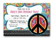 Peace Out - Girls Birthday Party Invitation - DIY PRINTABLE